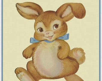 GREAT SALE Vintage Easter Bunny Rabbit Counted Cross Stitch Chart / Pattern