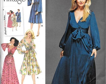 Simplicity 8013 Misses Retro Vintage 1970s Mock Wrap Maxi Evening Dress Sewing Pattern UNCUT Size 6, 8, 10, 12, 14