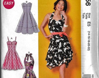 McCall's M6956 Summer Halter Strap Dress Sewing Pattern 6956 UNCUT Size 14, 16, 18, 20, 22