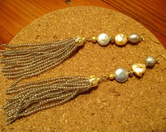 """Beyond Divine: 6"""" Long Genuine BAROQUE GOLD & SILVER Coin Pearl Pierced Earrings w/Ab Silver Tassels, Micro Pave Rhinestones/Gold Accents"""