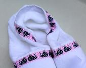 Modern Pink Chevron Princess Whale White Hooded Towel