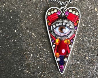 Large Eye Heart Pendant by Betsy Youngquist (brown)