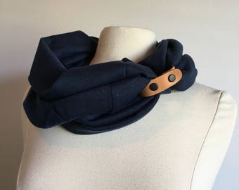 Cavness infinity scarf with leather cuff accent