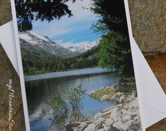 Scenic View of Mountain Lake Photo Note Card - Montana Nature Photography