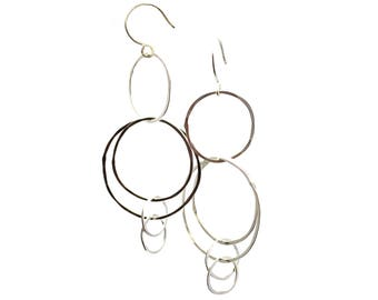 Silver Circle Cluster Earrings