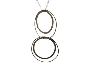 Brass and Silver Concentric Circle Necklace