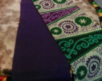 Reversible Purple Green  Tie on Headband/Bow Tie
