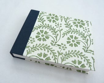 Small notebook, little journal, florentine, rossi paper, italian, bookcloth, green flowers
