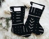 Black Mudcloth Christmas Stockings with Pom Poms - Bohemian Christmas Décor - Tribal Stocking Mud Cloth