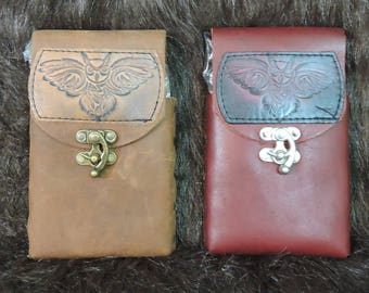 Instock 8oz Hip Flask or Cell Phone Leather Belt Pouch, Owl Patch