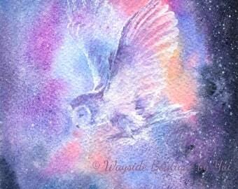Owl Spirit - ORIGINAL watercolor painting 7.5x11 inches