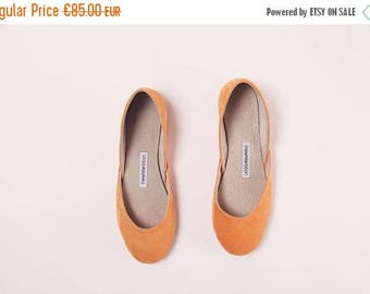 Summer Sale Handmade Leather Ballet Flats | Pastel Orange Suede | Ballet Flats | Ready to Ship