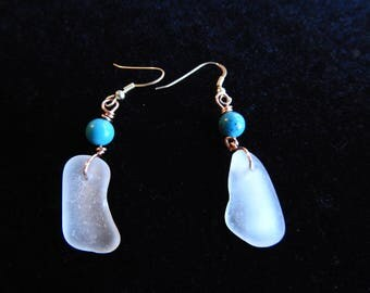 Genuine Sea Glass Earrings, Seaglass Drops, Turquoise Dangles, Copper Seaglass Earrings, White Sea Glass Jewelry, Girlfriend Gift