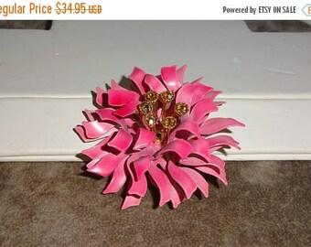 25% Off Beautiful enamel Coro signed flower, Mum enamel flower brooch Rare Pink Enamel Flower Brooch