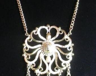 25% Off Vintage Huge Pendant Necklace, Fleur De Lis Dangles, Medallion Style Pendant