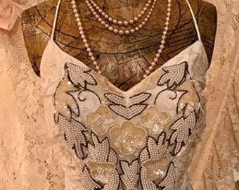 """Vintage Beaded Couture Lace """"NEW LEAF"""" Dress"""