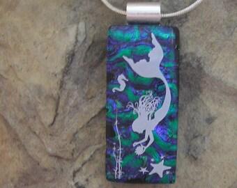 Mermaid Pendant Dichroic Fused Glass  Mermaid Necklace