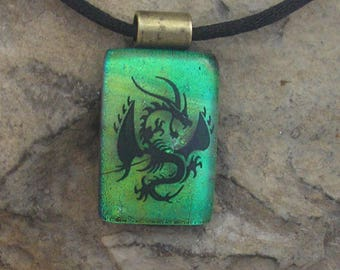 Dragon Necklace Dichroic Glass Earthy Dragon Pendant