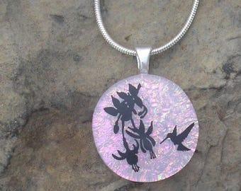 Hummingbird Necklace Dichroic Fused Glass Hummingbird Pendant