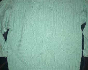 Vintage Summer Sweater. Summer Sweater. Aqua Green Summer Sweater. Spring Sweater. Sweater.