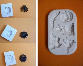 Lot moules en silicone 8 formes Halloween pour décoration loisirs créatifs