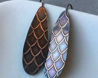 Copper and Sterling Dangle Earrings