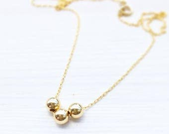 Gold necklace, Simple necklace, Gold beads necklace, Tiny necklace, Gold filled necklace, Minimalist gold necklace, Delicate gold necklace