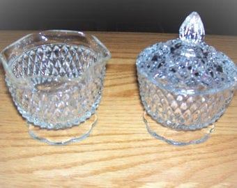 Vintage Cut Glass Cream and Sugar Set