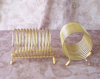 Vintage pair of brass tone spiral letter holders.  C1-790-1.