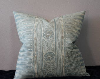 "Suzanne Rheinstein/Lee Jofa - Indian Zag Ethnic Print in Lake - Sea Foam Green - Boho Chic- Lumbar and 18""-22"" Square Designer Pillow Cover"