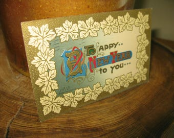 Embossed & Gorgeous 1910 Happy New Year Antique Post Card Gold Red  Very Good Conditon Holiday Christmas Decor Postcard Camden New Jersely