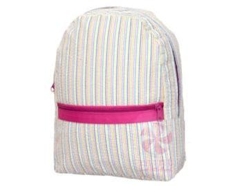 Rainbow Seersucker Medium Backpack