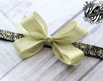 Baby Bows, Toddler Bows, Girls Hair Bow, Shimmery Shimmering Gold Hair Bow Headband, Floral Rose Headband, Elastic Headband, 4 Inch Hair Bow