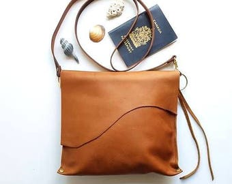 Cognac leather cross body bag