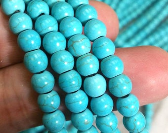 SALE 6 mm. Howlite Blue Turquoise Smooth Round Beads - Dyed Turquoise Beads (G3611FSC)