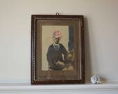 Antique Photo India Photo Man in Turban Handpainted Shipping Included