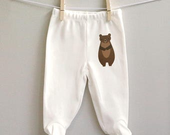 Baby clothes, baby pants with feet, Bear footed baby pants, gift for baby