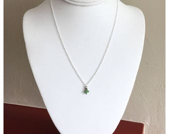 NEW! Aventurine Green Stone and Crystal Dainty Necklace 18inch silver chain handmade