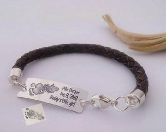 Gift for new Dad, Your Babys actual Footprint or Handprint 925-silver handmade BOLO leather bracelet, Daddy's little girl boy bracelet