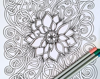 Adult Kids Coloring Page Flower Swirls Original Nature Art