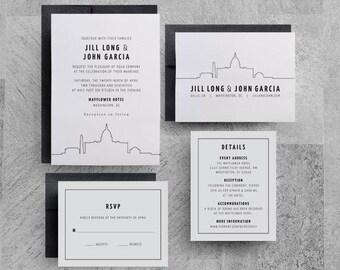 Washington DC Wedding Invitations, Skyline Invitations, City, Downtown, Buildings, San Francisco Wedding, Chicago Wedding, Save the Dates