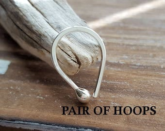 Pair of 18g Teardrop Hoops, Argentium Silver Ball Earrings, Small Arc Hoops, Artisan Jewelry