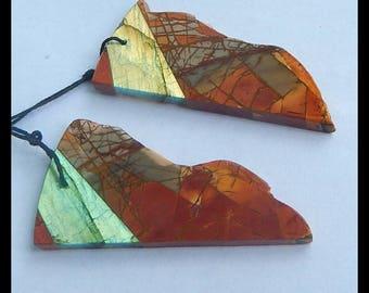 New,Nugget Multi-Color Picasso Jasper,Labradorite Intarsia Earring Bead,48x25x4mm,14g