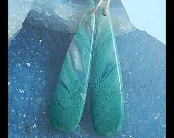 Dark Green Natural Handmade Moss Agate Gemstone Earring Bead Semi Gemstone Wholesale Jewelry Gift Gem Customized  46x12x4mm 5.6g(E1070)