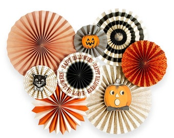 Halloween Party Fans, black and orange, Halloween Party, Paper Fans, wall decor