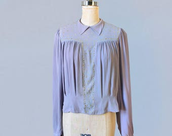 1930s Blouse / 30s Lilac Crepe Blouse with Gold Fleck Accents
