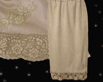 Lace Skirt Slip is a Plus Size Half Slip in 50s Van Raalte Nylon with Luxurious Lace, Luxury Lingerie as Lacy Half Slip or Smooth Nylon Slip