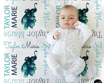Peacock baby blanket, baby girl personalized baby gift, peacock blanket, baby blanket, personalized blanket, peacock name gift,choose colors