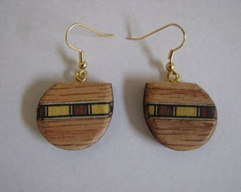 Inlayed Red Oak Earrings