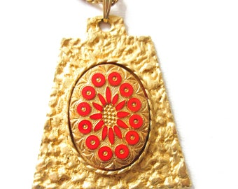 Mod Red and Gold Necklace Vintage Statement Jewelry Gift